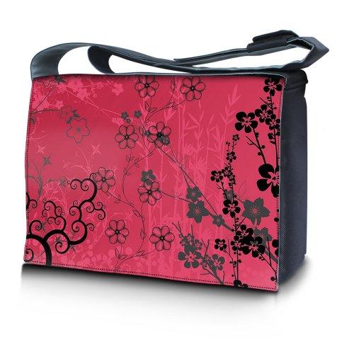 Luxburg® Design Messenger Bag Notebooktasche Umhängetasche für 17,3 Zoll, Motiv: Sakura pink