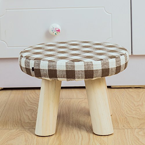 STJK$BMJW Stool Solid Wood On A Low Stool Fabrics to Remove and Wash Tea Lounge in Children's Shoes of Bedrooms are Small Round Stool High-20Cm Palm Format