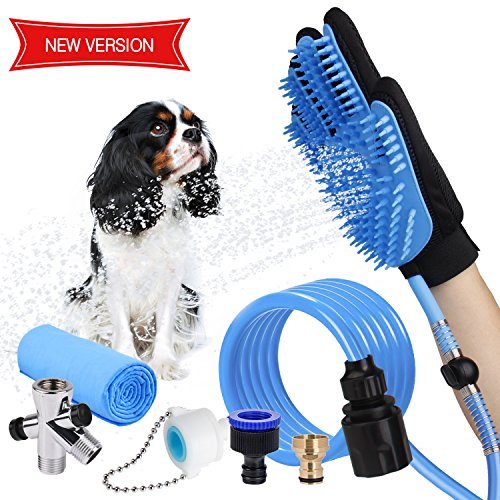 WOWGO Newest 4 in 1 Pet Shower Kit with Free Towel, Pet Shower Sprayer for Dog Bathing Massage, Shower Attachment with Diverters for Indoor & Outdoor(Blue New)