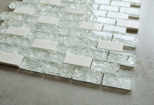 Super White Cleft Glass & Bianco Marble Glass Mosaic Tile - Green, Blue & Beige 1
