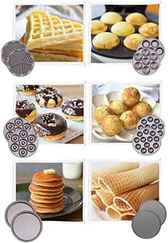 Gaufrier avec 7 plaques amovibles, Waffle automatique multifonction cône Maker Easy Clean, non-Stick for Gaufres, rissolées, ou tout petit déjeuner, déjeuner