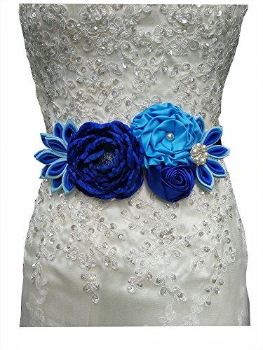 Maternity sash flower belt peacock inspired pregnancy sash for Mom to be (royal blue)