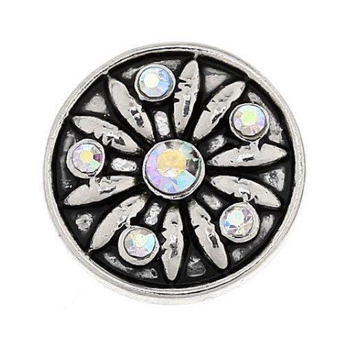 MY-bEAD argent click button fleurs blanc 20 mm-compatible avec les systèmes de bouton pression courants