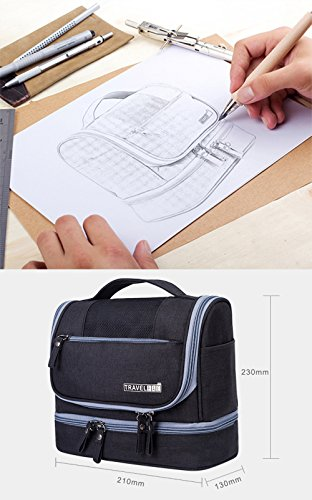 Travel-Hanging-Toiletry-Makeup-Cosmetic-Bag-Waterproof-Organizer-for-Men-and-Women-Accessories-Toiletry-Kit-with-Dry-and-Wet-Separation-2-layer-Design-by-Refee-Black