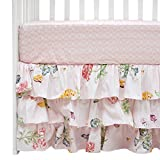 Brandream Pink Damask Crib Sheet+Triple Layer Butterfly Ruffle Crib Skirt|Adorable Nursery inspired Crib Set,100% Cotton Floral New Vintage Style Bedding