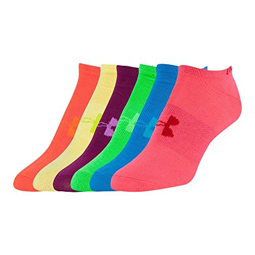 Under Armour Girls` Liner No Show Socks 6 Pack (Youth Large, Rainbow (968) / Purple/Green/Pink)