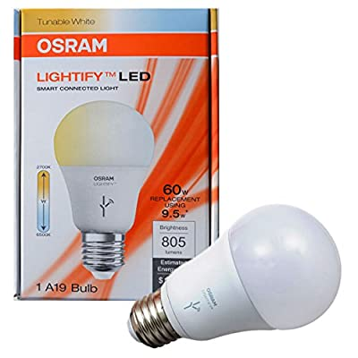 OSRAM SYLVANIA LIGHTIFY dimmable 9.5W LED Light 60 Watt Equivalent / color temperature adjustable - Warm White to Daylight (2,700K - 6,500K) Smart LED A19 frosted bulb (Tunable Smart LED)