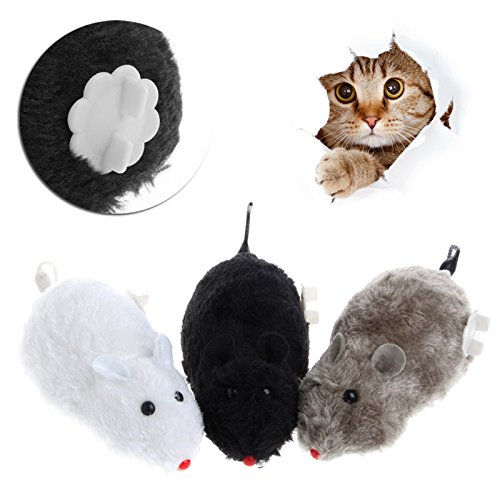 Longsw Clockwork Wind Funny Running Mouse Rat Move Tail Cat Kitten Prank Toy Gift