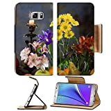 MSD Premium Samsung Galaxy Note 5 Flip Pu Leather Wallet Case Note5 IMAGE ID: 29082456 close up elegant still life of various ripe fruits and delicate flowers on a dark background studio