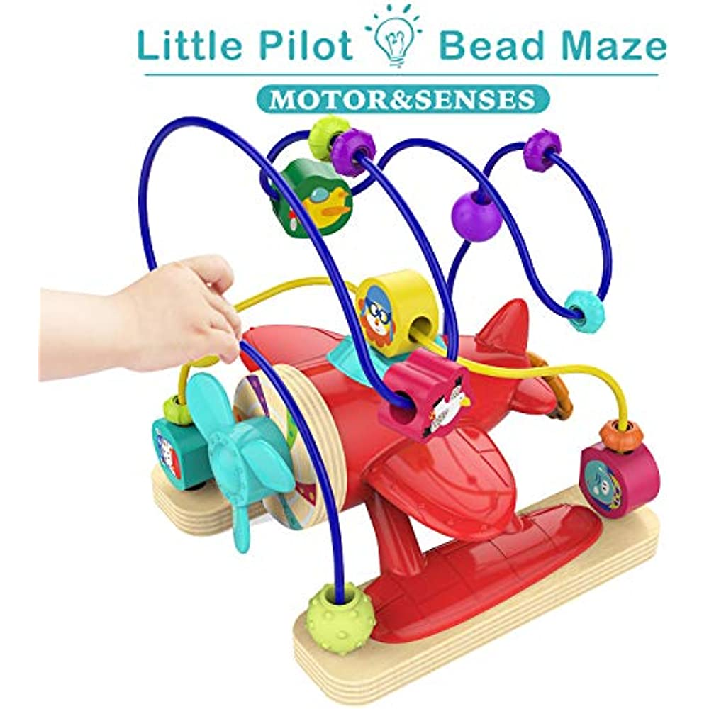 TOP BRIGHT Bead Maze Toys for 1 Year Old Boy Gifts Educational Bead Maze for Toddlers Boy One Year Old Airplane Toys