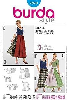 Amazon.com: Burda 7443 Dirndl Robe Folklore Sewing Pattern ...