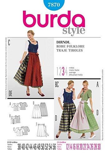 Amazon.com: Burda Ladies Sewing Pattern 7870 Dirndl Dresses ...