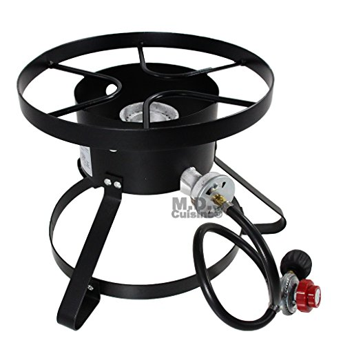 (High Pressure Burner Outdoors Cooking Gas Single Propane Stove Camping Quemador w/ Hose & Regulator)