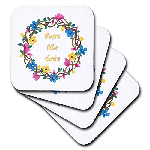 (3dRose CherylsArt Flowers Art - Colorful Painting of Wreathe of Flowers with Save the date in Center - set of 8 Coasters - Soft)