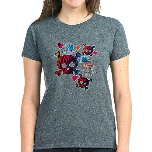 Royal Lion Women's Dark T-Shirt Punk Girl Skulls Peace Symbol - Charcoal Heather, Large