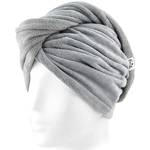 Evolatree Microfiber Hair Towel Wrap - Quick Magic Hair Dry Hat - Anti Frizz Products For Curly Hair Drying Towels - Neutral Gray by Evolatree (Image #4)