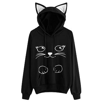 Sudadera con capucha para mujer Gato Manga larga Pullover Tops Blusa camisa de niña Abrigo de