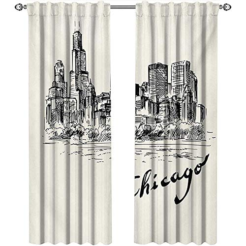 Returiy Chicago Skyline, Curtains Blackout, Vintage Artwork of American City in Hand Drawn Style Sketchy Effects, Curtains for Party Decoration, W72 x L84 Inch, Black and Cream -