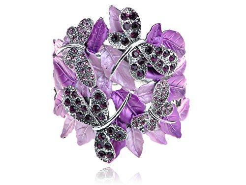 Alilang Womens Silvery Tone Purple Rhinestones Dragonfly Family Leaves Bangle Bracelet (Rhinestone Bracelets Wholesale)