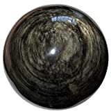 Obsidian Ball Gold 33 Xl Crystal Gazing Healing Sphere Volcanic Sheen Stone Mexico 4''