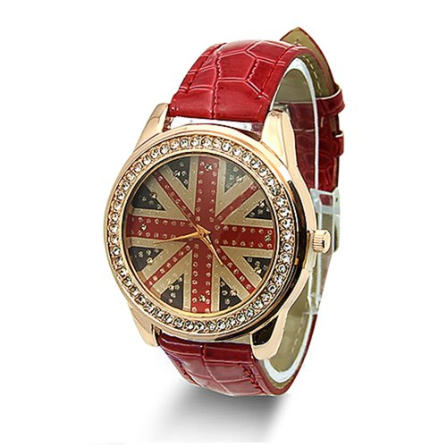 Woman's Fashion UK National Flag Ladies Crystal Leather Quar
