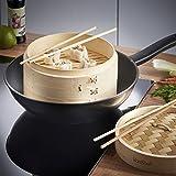Image of VonShef 10 Inch Bamboo Steamer Set with 2 x Free Chopsticks