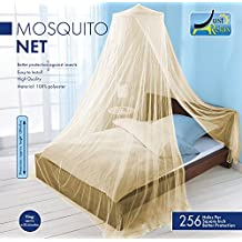 MOSQUITO NET by Just Relax, Elegant Bed Canopy Set Including Full Hanging Kit, Ideal For Indoors or Outdoors, Intended For a Perfect Fit for Covering Beds, Cribs, Hammocks (Beige, Queen/King)