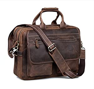 "Kattee Crazy-Horse Leather Briefcase 16"" Laptop Tote Shoulder Bag"
