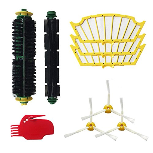 Robotic Vacuums Replacement Parts for iRobot Roomba 500 Series 510 530 535 540 560 570 580,Bristle Brush,Flexible Beater Brushes,3pcs Side Brushes and Cleaning Tool Accessories Kit