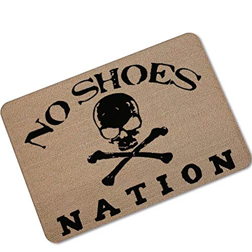 ALDECOR Universal Door Mat - Skull No Shoes Nation Design, Non Slip, Door Floormat with Shoe Scraper & Rubber Backing