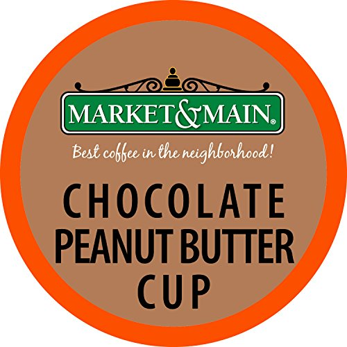 Main Peanut Butter (Market & Main One Cup, Chocolate Peanut Butter Cup, Compatible with Keurig K-cup Brewers, 72 Count (6 Boxes of 12 Pods))