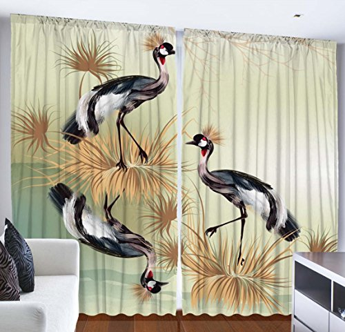 Nature Home Decor Curtains by Ambesonne, Crowned Crane Birds Floral Design Painting Effect Art Print, Living Room Bedroom Window Drapes 2 Panel Set, 108 X 84 Inches, Black White Beige and Light Green (Two Cranes)