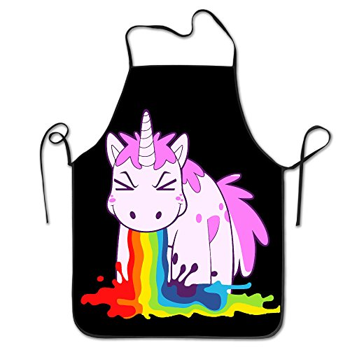 Unicorn I Puke Rainbows Chef Kitchen Cooking And Baking Bib (Rainbow Apron)