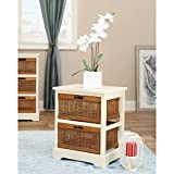 Safavieh American Home Collection Emma Off-White and Light Brown Two Drawer Storage Cabinet
