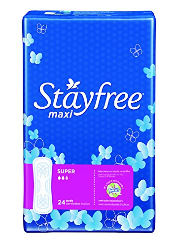 Stayfree Sanitary Pads (Stayfree Super Maxi Pads, Heavy Protection, 24 ct)