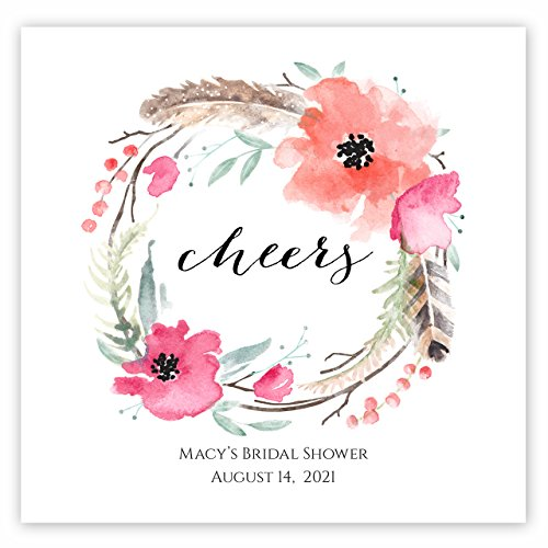(Boho Spirit Personalized Beverage Cocktail Napkins - 100 Custom Printed Paper)