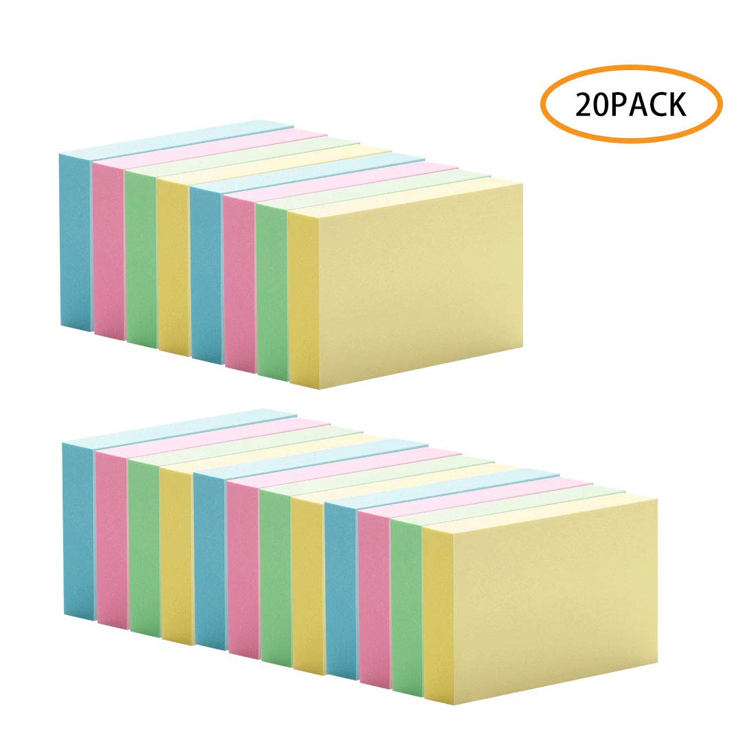 194db833fa06 20 Pad Mini Sticky Notes, 1 1/2 x 2 Inch Self- Stick Notes, 4 Candy Colors,  Easy To Post for Home, Office, Notebook, 100 Sheets/ pad