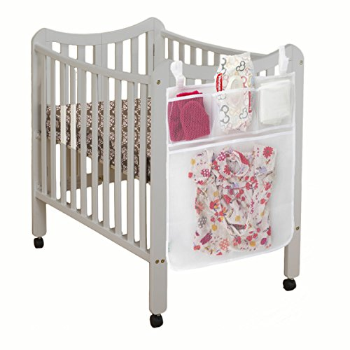 Baby Diaper Organizer For Nursery By Lebogner - Perfect Bedside Caddy For Baby Crib, 4 Pocket Diaper Accessories Hanging Storage Bag, Crib Toy Organizer
