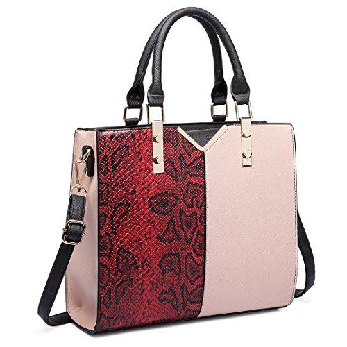 Miss Lulu Women V Shape Handbag Snake Print Shoulder Satchel Bag Tote 6613 Red