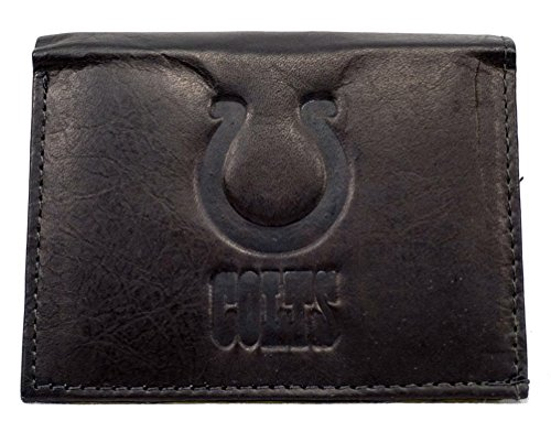 NFL Indianapolis Colts Tri-Fold Leather Wallet, Black