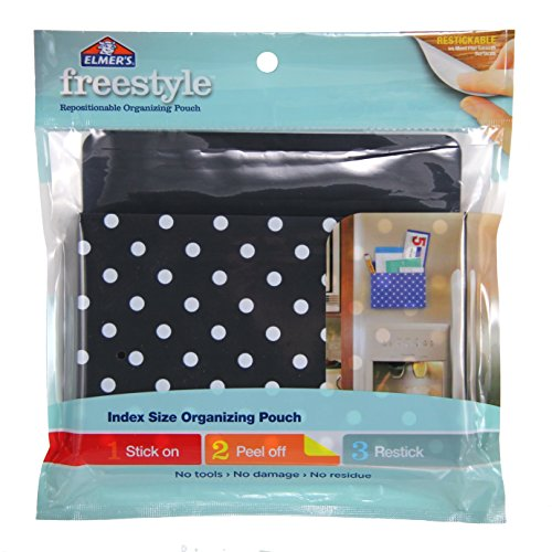 Elmer's Freestyle Reusable and Repositionable Adhesive Organizing Pencil Pouch, Index Size, Black & White Polka Dots, E5906