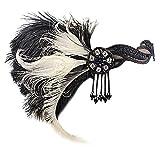 Women 1920s Flapper Headband Roaring 20s Great Gatsby Headpiece Peacock Feather Flapper Gatsby Costume (White)