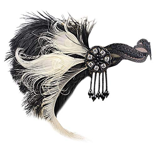 OMINA Headband 1920s Feather Flapper Great Gatsby Headdress Fashion Vintage Hair Accessories (White) -