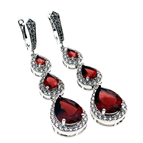 Garnet Necklace Bracelet Earring (Hermosa Garnet Citrine White Topaz Necklaces Earrings Bracelets Plated Silver Fashion Jewelry Combination Packages (Garnet Earrings))
