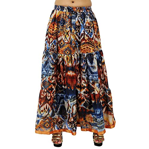 Skirt Cotton Export Women Handicrfats Indian Long Size free Printed For Tier Gold Hx0IH67wq