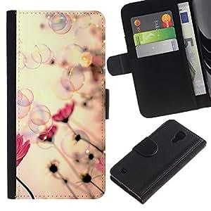 iBinBang / Flip Funda de Cuero Case Cover - Burbujas de jabón de primavera Vignette Rosa - Samsung Galaxy S4 IV I9500