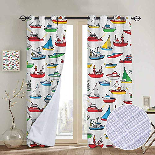 NUOMANAN Window Blackout Curtains Nautical,Bunch of Colorful Vessel Speedboat Fishing Trawler Motorboat Water Vehicle Concept, Multicolor,for Room Darkening Panels for Living Room, Bedroom 84