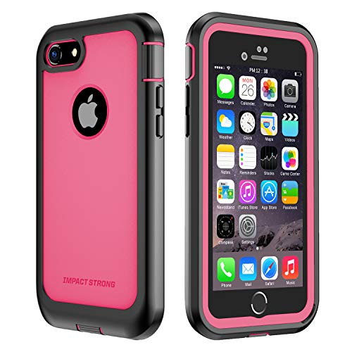 iPhone 7/8 Case, ImpactStrong Ultra Protective Case with Built-in Clear Screen Protector Full Body Cover for iPhone 7 2016 /iPhone 8 2017 (Pink)