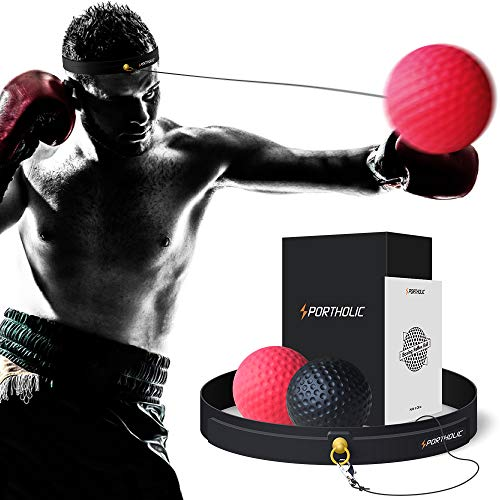PORTHOLIC Boxing Reflex Ball Headband,Fight Ball Punching Trainer Premium Boxing Equipment Kit for Hand Eye Coordination Training or Decompression for Kids or Adults (2019 New Version)