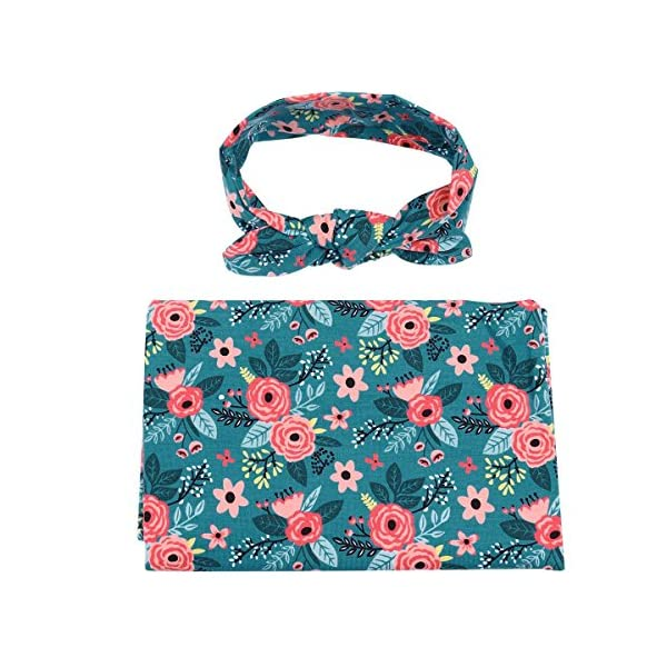 TiaoBug Newborn Baby Floral Cotton Swaddle Blanket Sleepbag With Bow Headband Teal Floral One Size